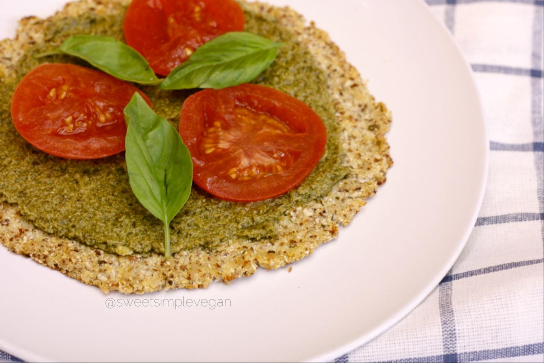 Vegan Pesto Pizza + Cauliflower Crust (GF, Oil Free)